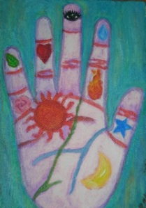 Painting of a hand with symbols on the palm