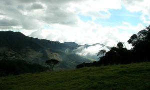 View of distant mountains and sky at La Finca