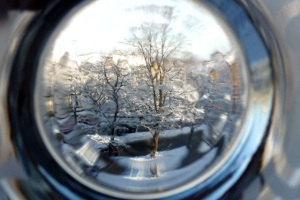 A winter view, seen through a peep hole